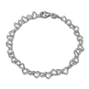 SilberDream Damen-Armband Herzchen 925 Silber poliert 18cm silber SDA2118J