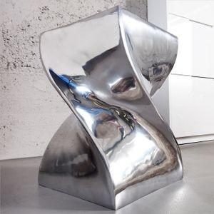 cagü: Design Beistelltisch & Hocker [MONOLITH] Silber aus poliertem Aluminium 45cm x 30cm