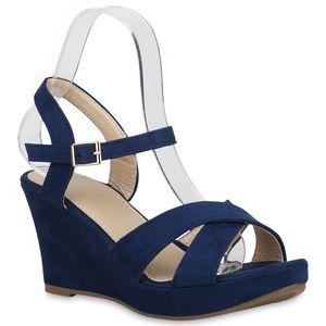 Mytrendshoe Damen Sandaletten Keilsandaletten Plateau Keilabsatz Schuhe 830355, Farbe: Dunkelblau, Größe: 38