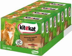 Kitekat Katzenfutter Nassfutter Klassische Auswahl Sauce, 48 Beutel (4 x12x100g)