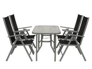 DEGAMO Gartengarnitur Sitzgruppe Gartenset Gartenmöbelset RAVENNA 5-teilig, 4x Klappsessel + Glastisch 70x120cm