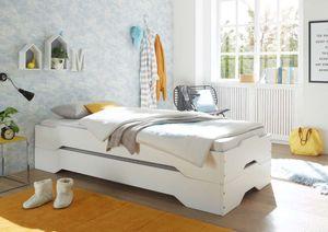 Massivholzbett DOUBLE Kiefer Weiß 90 x 200 cm 2 in 1 Stapelbett