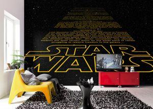 """Komar Fototapete """"Star Wars Intro"""", schwarz/gelb, Star Wars Saga, galaktischem Design, 368 x 254 cm"""