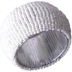 Glasperlen Serviettenring Ø4cm - Weiß