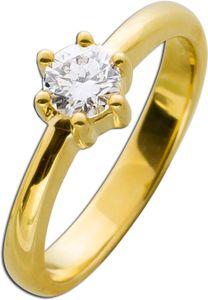Solitär Ring Verlobungsring Diamant Brillant  Gelbgold 585/-  0,53ct TW / IF Lupenrein  17