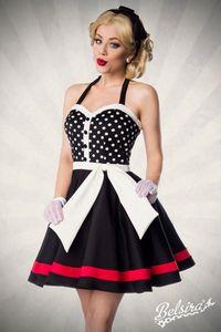 Neckholder Kleid mit herzförmigem Ausschnitt im Vintage-Look in schwarz/weiß Größe M = 38
