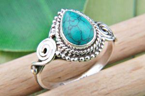 Türkis Ring 925 Silber Sterlingsilber Damenring blau grün (MRI 73-15),  Ringgröße:60 mm / Ø 19.1 mm