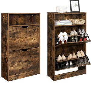 VASAGLE Schuhschrank mit 2 Klappen   60 x 24 x 102 cm Schuhregal mit Zusatzfach Schuh-Organizer Schuhaufbewahrung vintagebraun LBC040X01