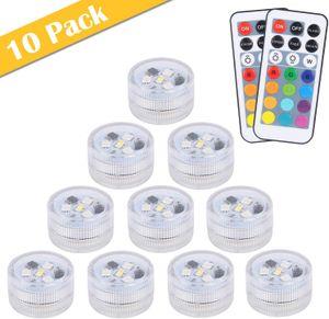 10pcs Mini Unterwasser LED Licht,  13 Farben RGB Mehrfarbige Mini LED Kerzenlicht Bad Wasserdichte Teelichter