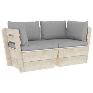 vidaXL Garten-Palettensofa 2-Sitzer mit Kissen Fichtenholz