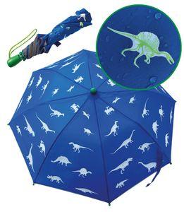 HECKBO Dino Magic Regenschirm – wechselt bei Regen die Farbe – Faltregenschirm: passt in jeden Schulranzen – mit Reflektorstreifen an alle Seiten – Holzgriff & Schutzkappen – Schutzhülle zum Verstauen