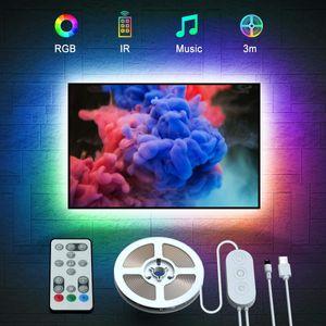 VADOOLL LED TV Hintergrundbeleuchtung, 3M USB LED Strip Lichtband mit Fernbedienung für 46-60 Zoll LED Beleuchtung Fernseher, 32 Farben 7 Szenen-Modi Stimmungsbeleuchtung LED Streifen, MEHRWEG [Energieklasse A+]