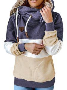 Damen nähen Kapuze Sweatshirt lose Hoodie Langarm Top,Farbe: Navy blau,Größe:3XL