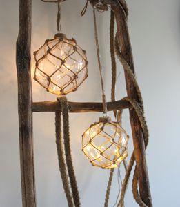 "Best Season ""Noah"" Glaskugel mit 8 LED-Lichtern, ca. 12 cm Ø klar im GarnnetzKabel transp.Trafo, 457-30"