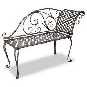 Gartenliege/Gartenbank 128 cm Stahl Antik Braun