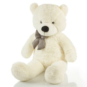 Riesen Teddybär XXL Kuschelbär 120 cm groß Plüschbär - Original Feluna Teddy Bär mit Schleife Weiß
