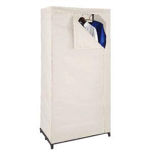 Textil Kleiderschrank beige mit Kleiderstange Stoffschrank Faltschrank Garderobe