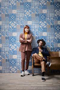 Livingwalls Fliesentapete Metropolitan Stories Anke & Daan Amsterdam Vliestapete blau creme violett 10,05 m x 0,53 m