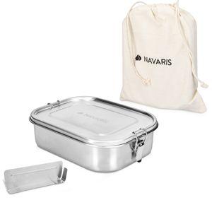 Navaris Brotdose Lunch Box Brotbox aus Edelstahl 1400 ml - Vesperdose Box Metall Behälter - auslaufsicher BPA-frei kunststofffrei - spülmaschinenfest