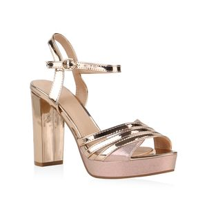 Mytrendshoe Damen Sandaletten High Heels Party Blockabsatz Abendschuhe 831956, Farbe: Rose Gold, Größe: 39