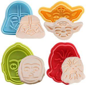 Star Wars Ausstechformen Plunger 4er-Set - zufällige Farben -Ausstechformen Plätzchenformen Backformen Keks Cookie Cutters Tortendeko