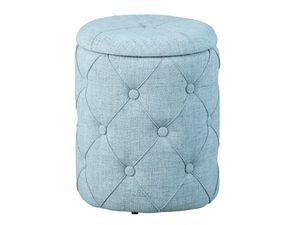 Design Sitzhocker inkl. Stauraum Hocker Textil grau mit 22 Knöpfen