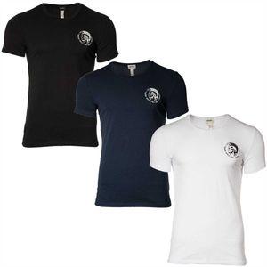 DIESEL 3PACK Herren T-Shirt Rundhals, Round Neck, Stretch Baumwolle, Mohawk, Randal / Farbe: Schwarz, Marine, Weiß | Größe: M (Gr. Medium)