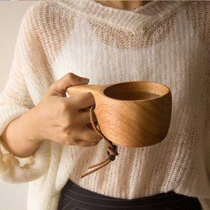 Holzbecher Tragbare Hölzern Kaffeebecher Draussen Milchbecher Zwei-Finger-Lochbecher