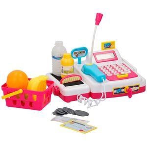 Kinder Spielzeug für Einkaufsladen Supermarkt Kaufmannsladen Kasse Registrierkasse mit Lebensmitteln, Spielgeld und Licht und Ton Funktion