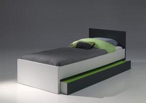 Vipack Set Josh best. aus Einzelbett 90x200 cm, Bettschublade 90x195 cm  - Farbe: Weiß/Grau; JOCO02
