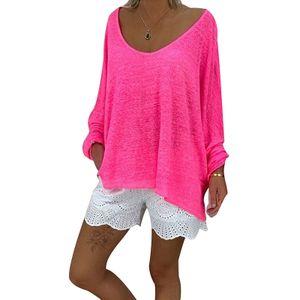 Damen Oversized Loose T-Shirt Langarm Top Plus Size,Farbe: rosa rot,Größe:L