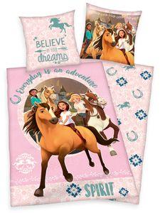 SPIRIT wild und frei Pferde Bettwäsche 80x80 + 135x200cm 100% Baumwolle mit Reißverschluss