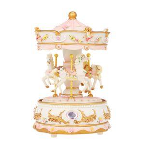 Mini Karussell Uhrwerk Spieluhr bunte LED Merry-Go-Round Spieluhr Geschenk für Freundin Kinder Kinder Weihnachten Festival PInk