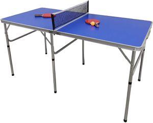Tischtennisplatte, 152x76x76 cm Mini Tischtennisplatte, Tischtennistisch für Indoor & Outdoor, Klappbare Tischtennisplatte perfekt für den kleinen Garten oder für die Wohnung geeignet, Blau