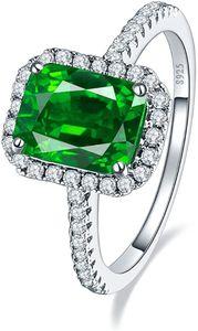 CYE Frau 3,6 CT Smaragd Cut Smaragd Grn 925 Sterling Silber Ring