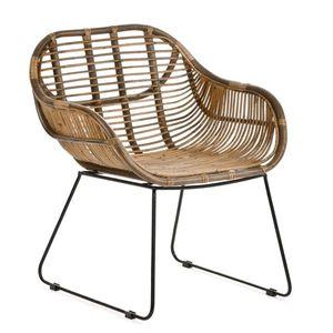 Casa Moro Rattan-Sessel Madrid mit Armlehne 62x62x85 (B/T/H) Vintage Rattanstuhl Retro-Stuhl aus Naturrattan | IDSN56