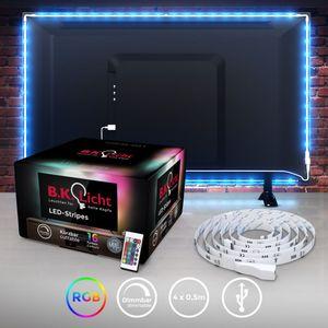 LED TV-Hintergrundbeleuchtungs-Set 2M inkl. USB Anschluss LED Strip Fernseher mit Fernbedienung 16 Farben Selbstklebend für 40-60 Zoll TV B.K.Licht