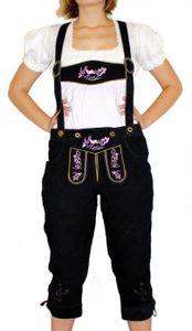 Damenlederhose Damen Trachten Lederhose aus Ziegenvelour SCHWARZ Rosa, Größe:50