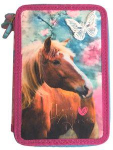 I Love Horses Pferde 3 - Fach Federmappe Federtasche mit 43 Teilen gefüllt Federmäppchen rosa