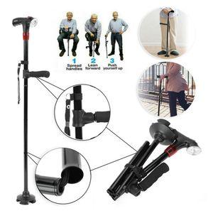 Faltstock Spazierstock Krückstock Spazierstock Gehhilfe Gehstock faltbar Höhenverstellbar Gehhilfe mit LED Licht Alarm klappbar