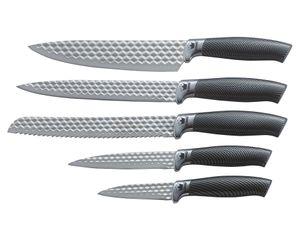 5tlg. Messerset KING® CARBON DIAMOND Messerklingen mit Rautenstruktur / Größen: Kochmesser 20cm, Brotmesser 20cm, Universalmesser 12.5cm, Ausbeinmesser 20cm, Gemüsemesser 8.5cm