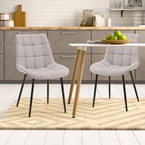 2 Stk.Esszimmerstühle, Samt Stuhl Polsterstuhl Grau Sessel Stoffkissen-Akzentstühle(Grau)