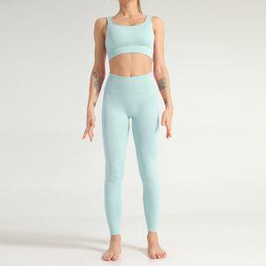 lixada Trainingsanz uege Frauen Fitness Sets BH Crop Top + Hosen Schnelltrocknendes Yoga Fitnessstudio Sport Set Hollow Out Workout Athletic Suit,Light blue,Groesse:M