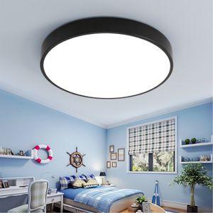 Natsen 24W LED Deckenleuchte ultra dünn Deckenlampe rund warmweiß 3000k für küche Dieler Schlafzimmer (schwarz)