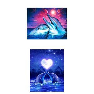 2 Pack Delphin 5D Diamant Malerei Diamond Painting Set - Strass Stickerei Kreutzstich Kunsthandwerk für Wand Nachbildung
