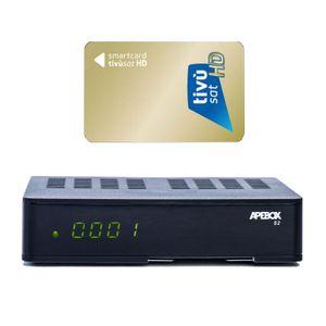 Apebox S2 Full HD 1080p H.265 LAN DVB-S2 Sat Multimedia IPTV Receiver mit TIVUSAT HD Karte