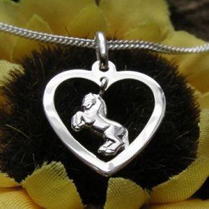 Kinderkette Silber 925 Kette Herz mit Pferd Anhänger