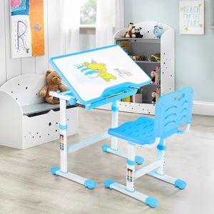 Kinderschreibtisch Set mit Stuhl Schülerschreibtisch höhenverstellbar Ergonomischer Stuhlsitz DHL