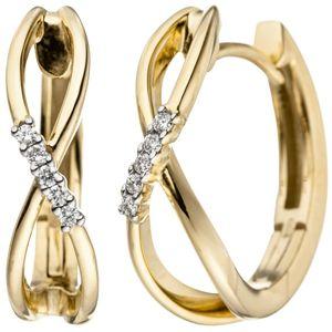 JOBO Creolen 585 Gold Gelbgold bicolor 10 Diamanten Brillanten 0,06ct. Ohrringe