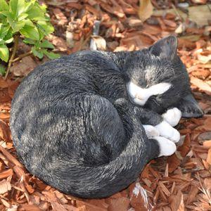 Gartenfigur schlafende Katze